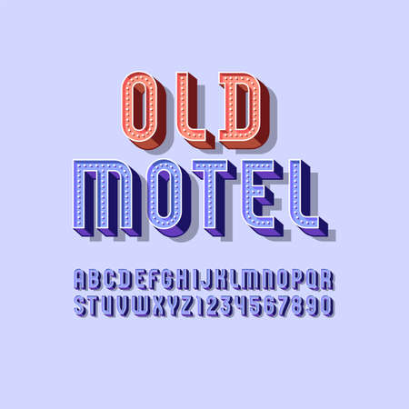 3D modern Font, retro volumetric alphabet, condensed letters and numbers with light bulbs