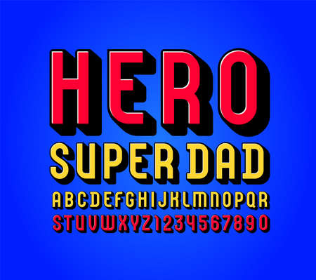 3D alphabet in the comics style, trendy bright font, condensed multi colored letters and numbers, vector illustration