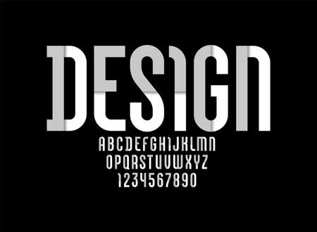 Constructive original font, modern alphabet, retro letters and numbers made of parts gray colors, vector illustration Vecteurs