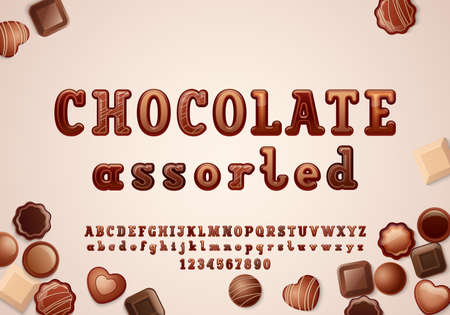 Original 3d font in the chocolate style, rounded alphabet slab serif, uppercase and lowercase letters from A to Z and numbers from to 9, vector illustration 10EPS Vecteurs