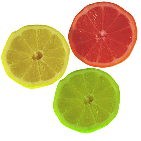 Three colored lemon slices photo