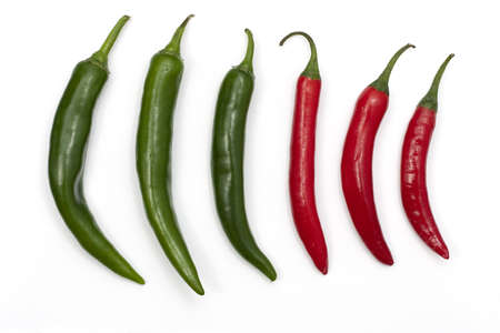 Three green and three red chillies in a row