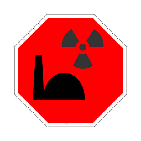 Stop sign with atomic symbols Stock Vector - 9106761