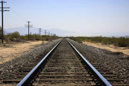 Railroad in the desert  with vanishing point
