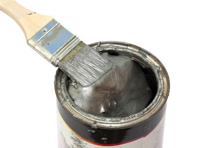 optional: Brush with fresh paint on a color pot over white Stock Photo