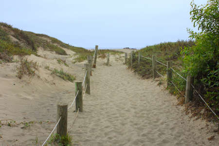 Sandy path with railings towards the beach Stock Photo - 10552225