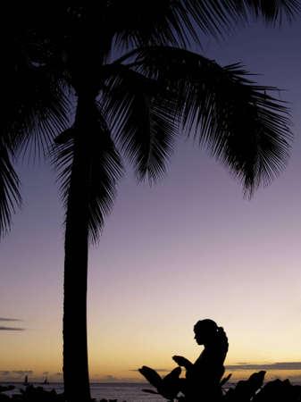 Una silhouette femminile durante il tramonto con una palma Archivio Fotografico