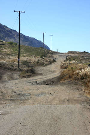 The beginning part of an unpaved highway photo