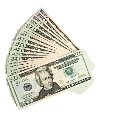 dollar bills: Sopra la vista del 20 e 50 banconote da un dollaro disposti a ventaglio