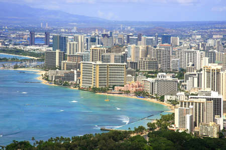 Top view of Honolulu Waikiki Beach Stock Photo