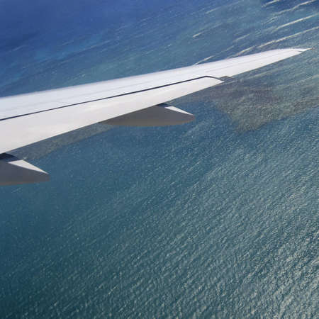 Square shot of airplane wings over shallow water