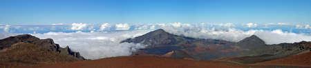 Panorama vista dal vulcano Haleakala, Maui, Hawaii, Isole, Stati Uniti d'America