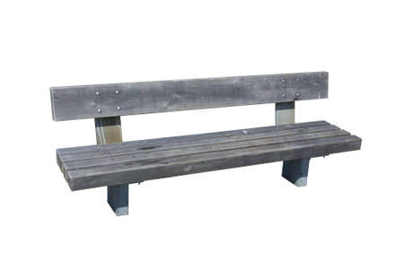 timber bench seat: Light grey wooden bench isolated over white Stock Photo