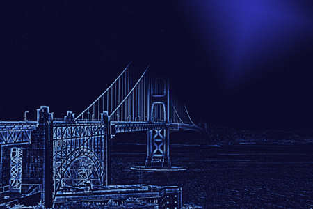 enhanced: Golden Gate Bridge with enhanced contours and moon light Stock Photo