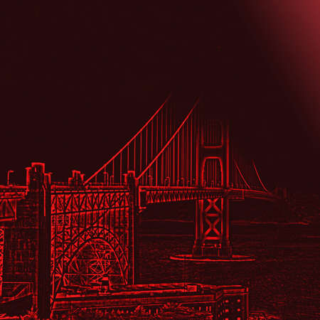 enhanced: Square shot Golden Gate Bridge with enhanced red contours