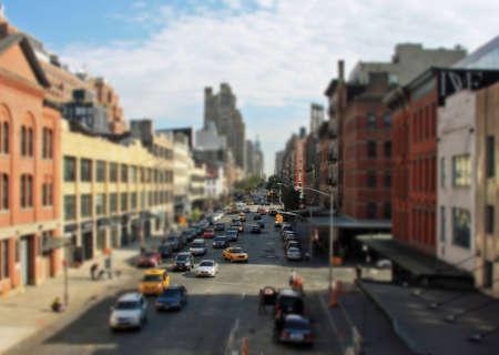 Street in New York with tilt shift lens effect Stock Photo