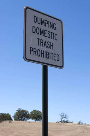 dumping: Traffic sign dumping domestic trash prohibited