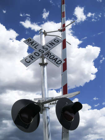 Railroad crossing sign with lights and barrier photo