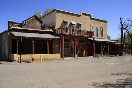 Ghost town buildings in the desert photo