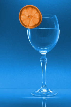A wine glass with an orange slice photo