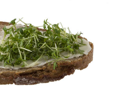 A bread with butter and fresh cress over white photo