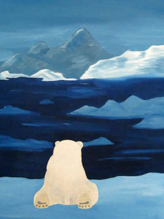 berg: A polar bear from behind watching the icebergs