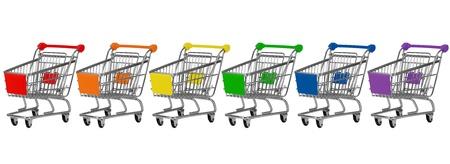 Sei carrelli della spesa in colori arcobaleno in una fila