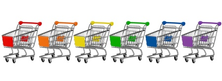 Six shopping carts in rainbow colors in a row photo