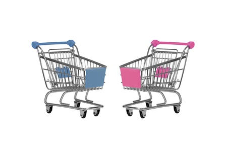 Two shopping carts observing isolated over white photo