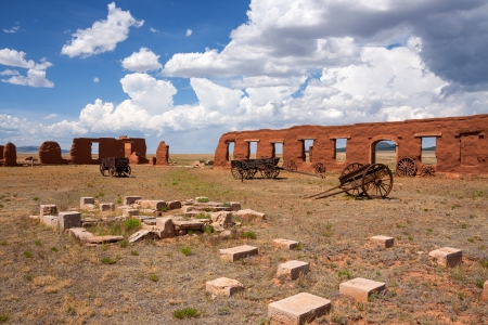 new mexico: Ruins and wagons at Fort Union
