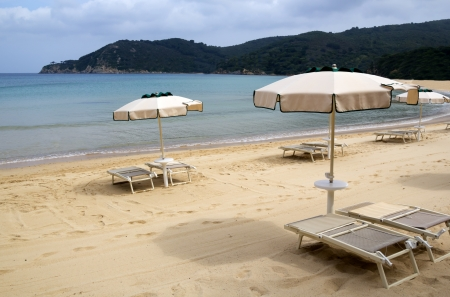 Deserted beach with opened umbrellas and chairs photo