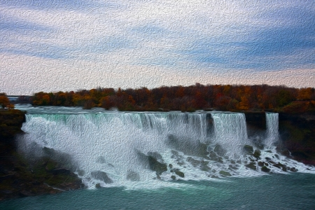 Colorful painting like picture of water in fall photo