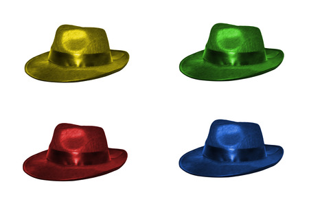 Four hats in yellow, green, red and blue isolated on white Stock Photo