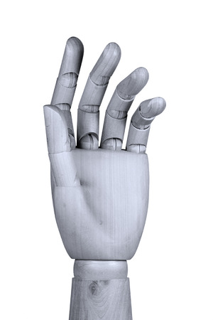 bent: Wooden model hand showing bent fingers with palm be seen Stock Photo