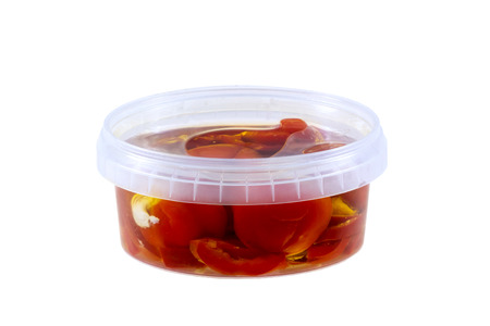 antipasti: Antipasti in a closed plastic box viewed from side Stock Photo