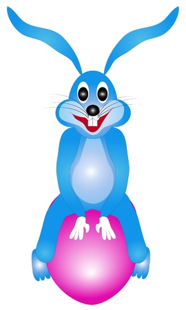 Illustration of Easter bunny rabbit on a white background, suitable for further editing and adding fonts Stock Illustration - 18341450