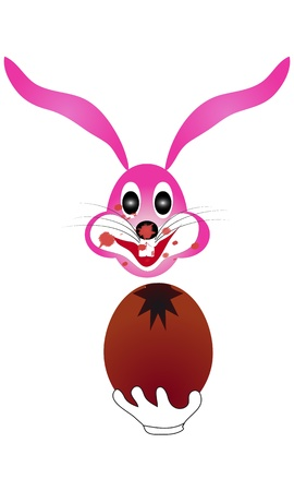 Illustration the Easter bunny rabbit eat chocolate egg is ideal for editing Stock Vector - 18341461