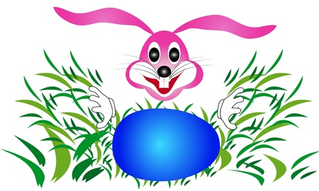 Easter bunny rabbit looking for eggs in the grass-illustration is suitable for further treatment Stock Vector - 18341456