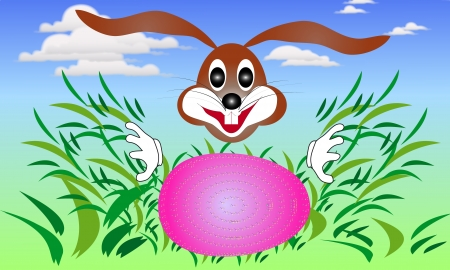 Easter bunny rabbit looking for eggs in the grass-illustration is suitable for further treatment Stock Vector - 18341463