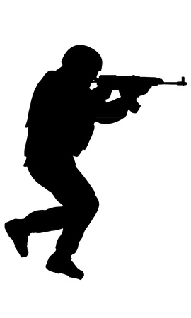 Soldier in action on white background -  silhouette for future use Vector
