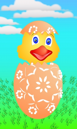 Easter chicken just hatched from eggs - suitable for greeting cards, or as further treatment  イラスト・ベクター素材