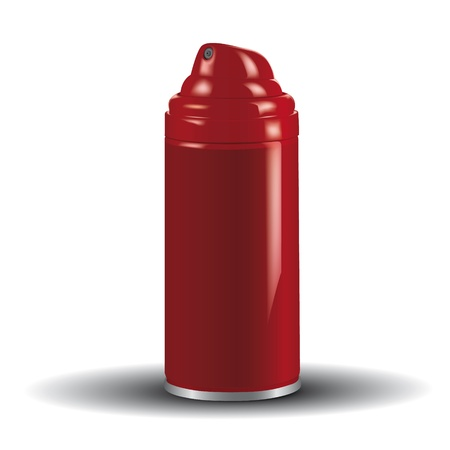 red spray can for text, isolated on white background Vector