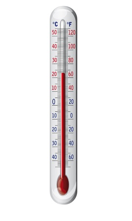 weather gauge: Outdoor thermometer - illustration isolated on white background, suitable for text and other adjustments