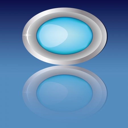 Blue button with silver edge in the shape of an oval, 3d design with reflection on blue background Vector