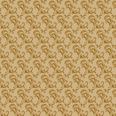 Interesting retro wallpaper in the old style brown swirls patterns on a pale background Stock Vector - 19246016