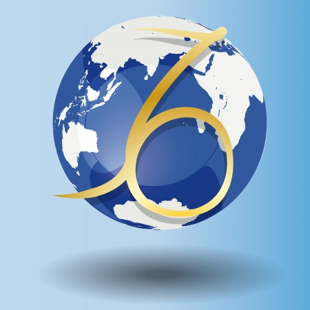 Illustration of Zodiac symbol Capricorn in gold on a globe, with a white map on blue background with shadow Vector