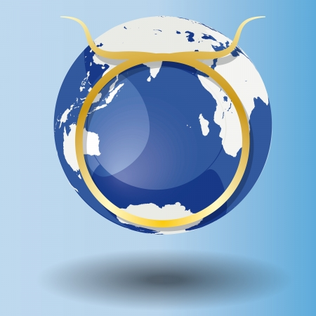 Illustration of Zodiac symbol Taurus in gold on a globe, with a white map on blue background with shadow Vector