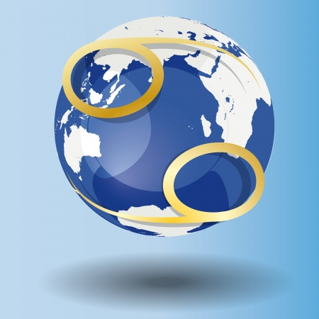 Illustration of Zodiac symbol Cancer in gold on a globe, with a white map on blue background with shadow Vector