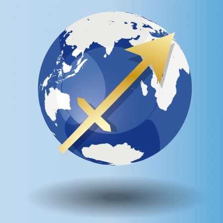 Illustration of Zodiac symbol Sagittarius in gold on a globe, with a white map on blue background with shadow Vector