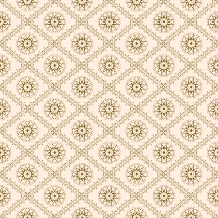 Interesting retro wallpaper in the old style brown swirls flowers in diamonds on pale background Stock Photo - 19246015